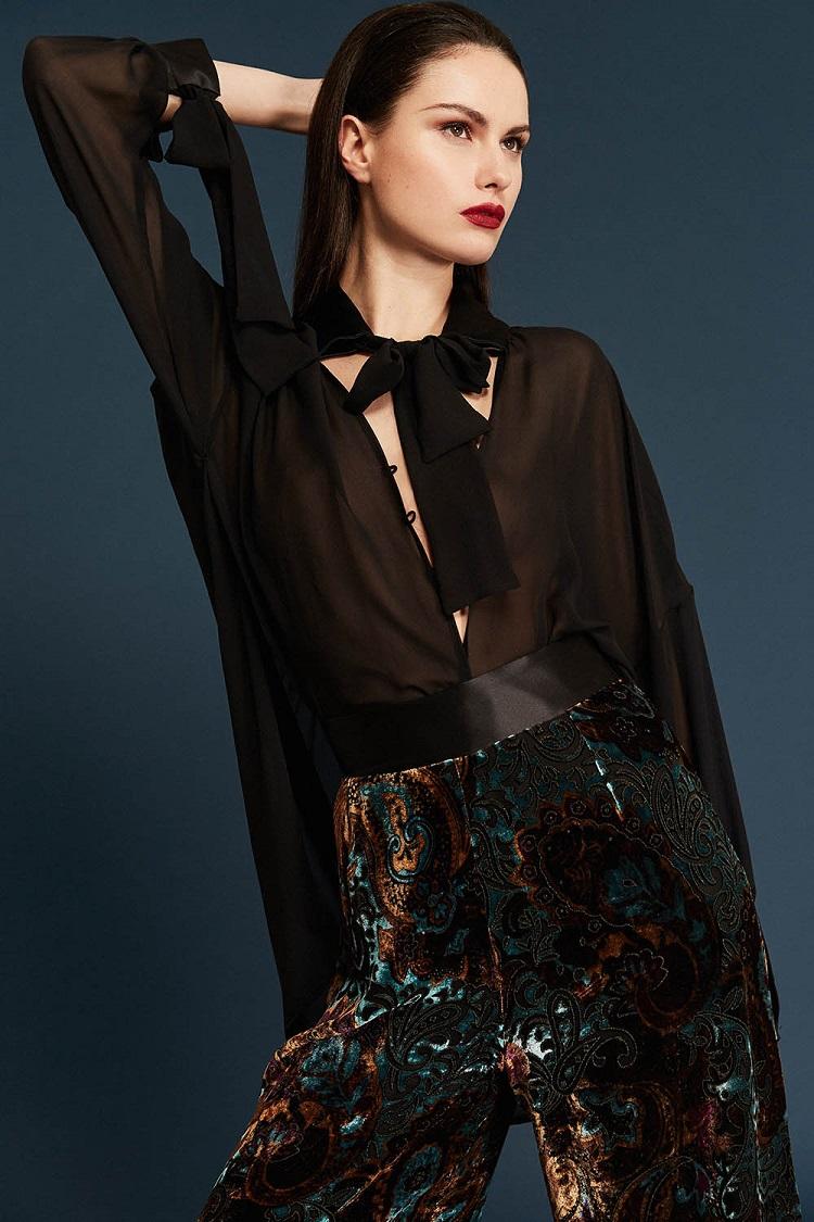 Vaporous shirt & Velour trousers detail